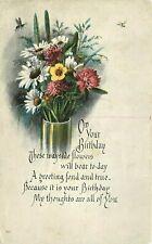 Antique UDB Postcard K050 Birthday Greeting Dated 1917 Vase of Daisies Flowers