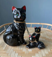 Vintage Black Cat With Kittens Chain Redware Pottery Kitchy, Retro
