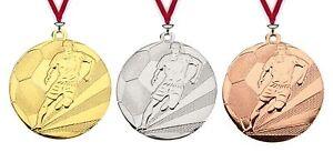 24 Stück 50mm Relief Medaillen Fussball MD211A mit Band nur 20,95 EUR