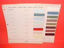 1960 DODGE CAR DART SENECA PHOENIX CONVERTIBLE POLARA MATADOR PAINT CHIPS CHART