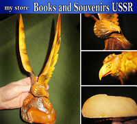 Ancient wooden figure of the eagle of the USSR, wood carving, Original
