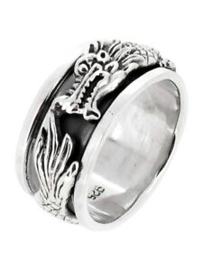 MENS 10MM Dragon Ring, 925 Sterling Silver Spin Stress Relief Ring