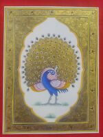Hand Painted Finest Peacock Miniature Painting India Art Work Synthetic Ivory