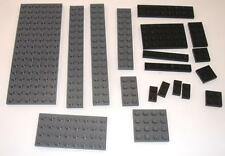 Lego Lot of Grey and Black Plate Parts  - Large and Small Plates - 19 Pcs