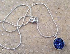 Peacock Blue Sparkly Druzy Cabochon Snake Chain Necklace