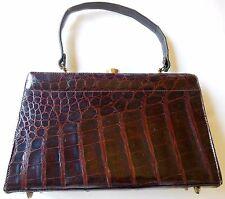 Vintage 1950s Brown Rust Alligator Leather Purse Handbag Unmarked