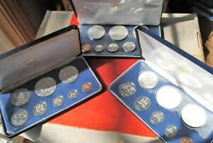 (3) 1974, Commonwealth of Jamaica 8 Piece Proof Set  Silver Coins Rare