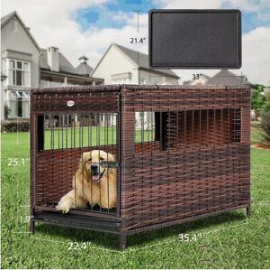 DEStar Heavy Duty PE Rattan Wicker Pet Dog Cage Crate Indoor Outdoor Medium