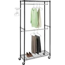 Rolling Clothes Rack Organizer Double Rod Garment Clothes Laundry Bedroom Closet