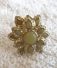 Banana Republic Yellow Flower Ring With Rhinestones On Gold Sz 6 LKNW