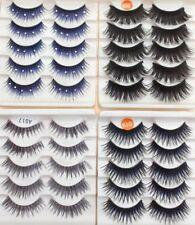 5 Pairs Blue Coloured Long False Eyelashes Fake Extensions Crystal Gem Bulk Tray