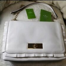 0f218410d133 Kate Spade White Daniella Danbury Ruffle Leather Handbag