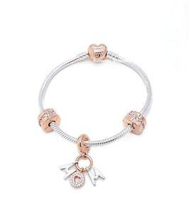 100% Authentic PANDORA Rose Gold 925 Heart Mom Letter Charm Bracelet Gift Set