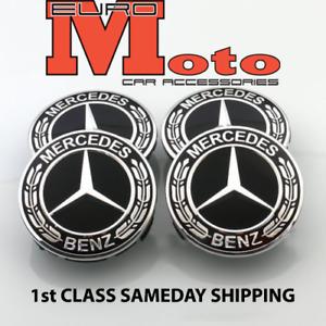 New Mercedes Benz Alloy Wheel Centre Caps 75mm Badges Black Hub Emblem A C E G S