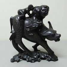 CHINESE HAND CARVED MAN & CHILD RIDING WATER BUFFALO WOODEN FIGURINE / SCULPTURE
