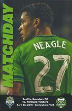 2015 Seattle Sounders vs. Portland Timbers MLS Soccer Program - Lamar Neagle