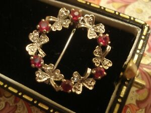 Beautiful,Vintage,9CT Gold: Ruby Gems & Diamonds Set Holiy & Ivy Garland Brooch