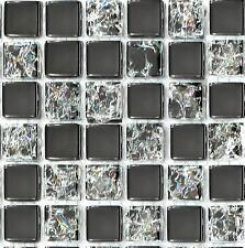 Klein Muster. Fliesen Schwarz solide gebrochen klar Glas Mosaik (MT0043)