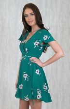 Wrap Dress With Tulip Sleeves - Green