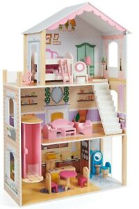 Kids wooden dolls house with furniture and accessories 3 story play house 115cm