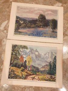 "2 Art Prints by Dwight D. Eisenhower c. 1970 Eisenhower College Reprint 10.5x14"""