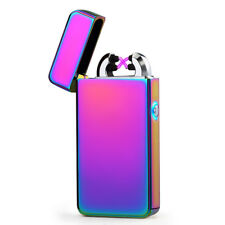 USB Electric Dual Rainbow Metal Flameless Torch Rechargeable Windproof Lighter