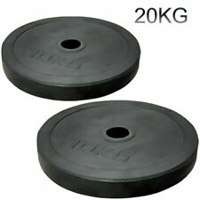 "2"" Olympic Rubber Coated Plates 20kg Weight Lifting Disc Pair Gym Bar 5cm"