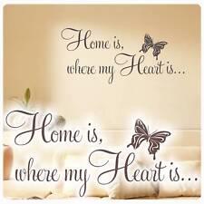 Wandtattoo Home is where my Heart is Wandaufkleber Schmetterling Zuhause W621