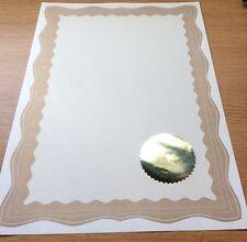 30 A4 Paper Plain Blank Certificates With Gold Border & 30 Plain Gold Foil Seals