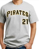 Pittsburgh Pirates # 21 T-shirt. Ash, White S-3-XL 100% Cotton. Free Ship USA
