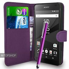Purple Wallet Case PU Leather Book Cover For Sony Xperia Z5 Compact Mobile Phone