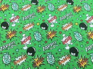 BOOM POW ZAPP SMASH Comic fun LIME GREEN style polycotton fabric teenagers fun