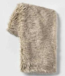 Mongolian Faux Fur Throw Blanket Tan - Project 62™