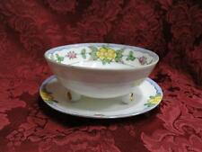 Nippon White w/ Blue Edge, Yellow & Pink Flowers: Footed Bowl & Plate Set