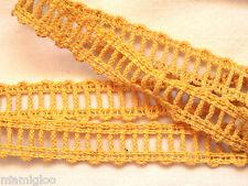 MERCERIE galon gance dentelle JAUNE 1mx15mm @RUBBON lace