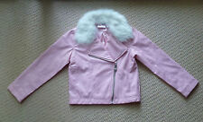 NWT Barbie Licensed Girls Pink Faux Fur Leather Biker Jacket Size 5