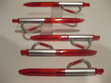 LOT OF 5 CARABINER BALLPOINT PENS-RED/SILVER-CIP ON BELT OR ANYWHERE