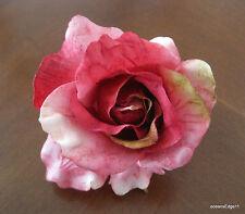"3"" Fuchsia,Pink,Sage,Poly Silk Rose Flower Hair Clip,Pin Up,Updo,Rockabilly"