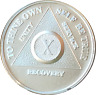 10 Year .999 Fine Silver AA Alcoholics Anonymous Medallion Chip Coin Ten
