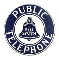 Public Telephone Bell Systems Vintage Telephone Sign Round MDF Wood Sign