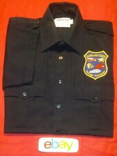 ELBECO MEN SZ M 15 15.5 BLUE JUSTICE Safety PATCH POLICE FIRE BUTTON Shirt EUC!