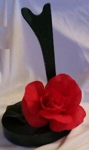 Handmade OOAK Wood Barbie/Ken Doll Saddle Stand~Dark Green w/Red Rose & Leaves