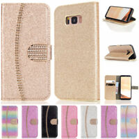 Glitter Leather Wallet Case Diamond Women's Flip Cover Stand for Samsung Galaxy