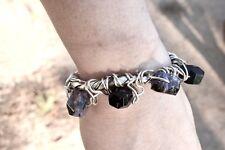 Sterling Silver Rustic Charoite 925 Bracelet Cuff Primitive Tribal Natural 925