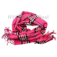 Men Women unisex 100%CASHMERE tartan Hot Pink Scarf Checked Plaid SCOTLAND