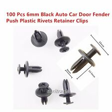 100 Pcs Black Auto Car Door Fender 6mm Hole Push Plastic Rivets Retainer Clips