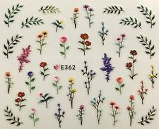 Nail Art 3D Decal Stickers Small Flowers with Stems & Fern Leaves E362