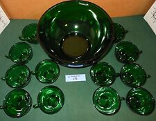 Vintage Forest Green GLASS Punch Bowl SET 12 Cups Anchor Hocking