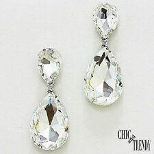 HIGH END CLEAR GLASS CRYSTAL EARRINGS WEDDING FORMAL TRENDY CHUNKY JEWELRY