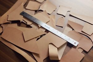 1 Pound Veg Tan Scrap Mixed Size Cowhide Tooling Leather Remnants Scraps